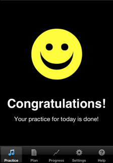 music practice app practice completed