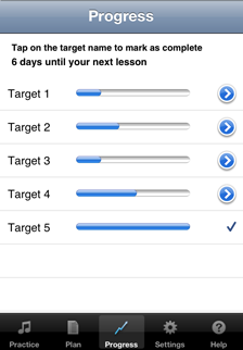 Check your progress when practicing using the Music Practice App