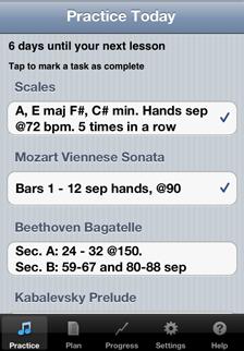 Daily Practice screen in Music Practice app