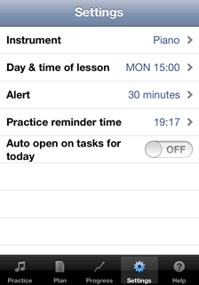 Setting screen of the Music Practice App