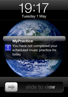 Music Practice App Lock Screen reminder